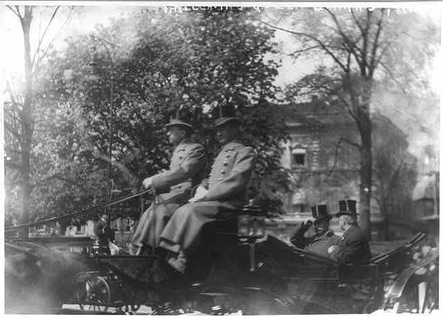 Hague, Holland. Theo Roosevelt leaving Ex-Queen Emma's