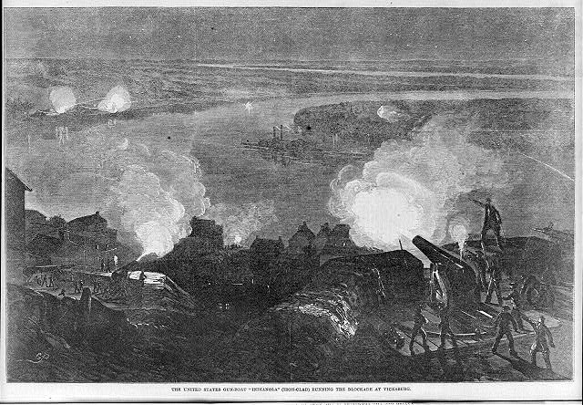 The United States gunboat INDIANOLA (Ironclad) running the blockade at Vicksburg [Feb. 13, 1863]