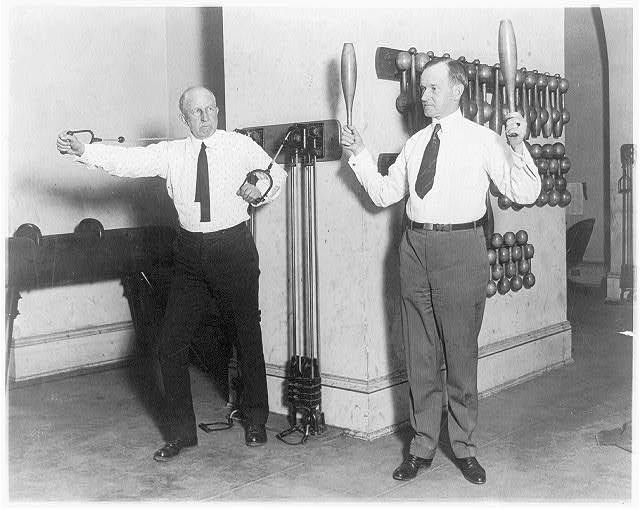 [Vice Pres. Coolidge and House Speaker Gillett exercising in House gym. Jan. 31, 1923]