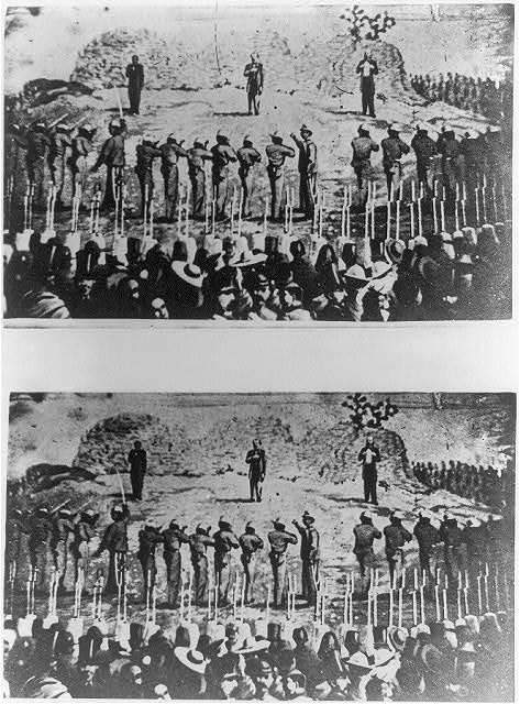 [Execution of Emperor Maximilian of Mexico, General Miguel Miramn, and General Toms Mejia by firing squad]