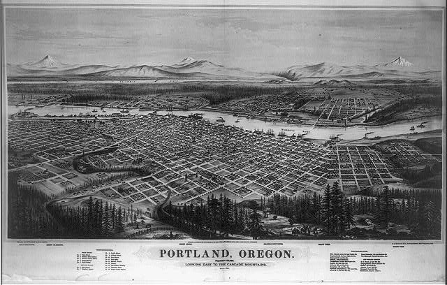 Portland, Oregon, population 22,000, looking east to the Cascade Mountains
