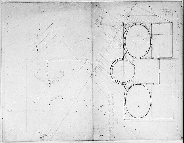 "[House (""Tudor Place"") for Thomas and Martha Custis Peter, 1644 31st Street, N.W., Georgetown, Washington, D.C. Floor plan and sketched elevation]"