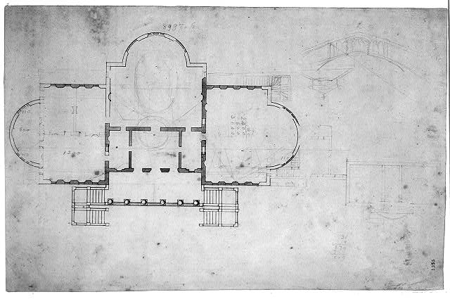 Architectural drawing for the United States Capitol, Washington, D.C. Plan, sketch elevations