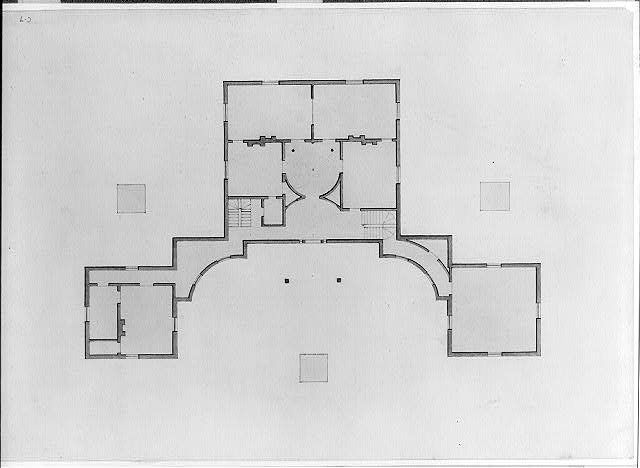 [House with two advance wings and curved hyphens. Floor plan]