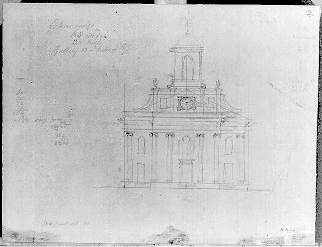 [Unidentified church. Front elevation]