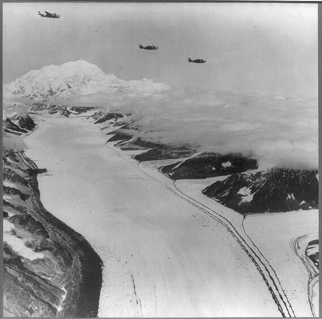 U.S. planes flying over the mountains of Alaska