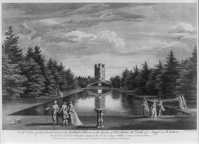 A view of the canal and of the gothick tower in the garden of His Grace the Duke of Argyl at Whitton