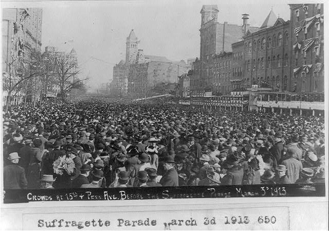 Crowds at 15th & Penna. Ave. before the Suffragette Parade, March 3, 1913