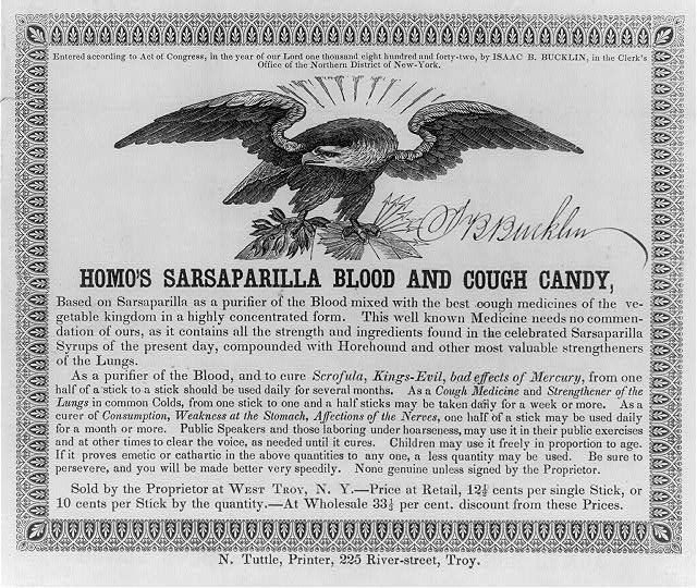 Homo's sarsaparilla blood and cough candy