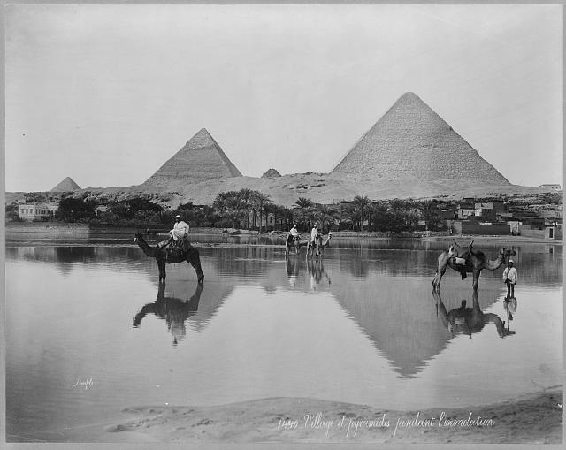 [Egypt. Village and pyramids during the flood-time. ca. 189-]