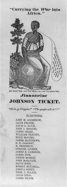 "Jinnoowine [i.e. ""genuine""] Johnson ticket. ""Carrying the war into Africa"""
