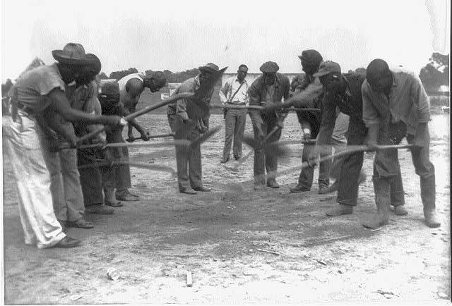 "[African American convicts working with shovels, possibly the singers of ""Rock Island Line"" at Cummins State Farm, Gould, Arkansas, 1934]"