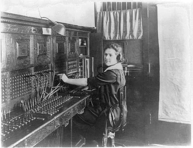 [Telephone operator at work]