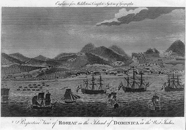 A perspective view of Roseau in the island of Dominica in the West Indies