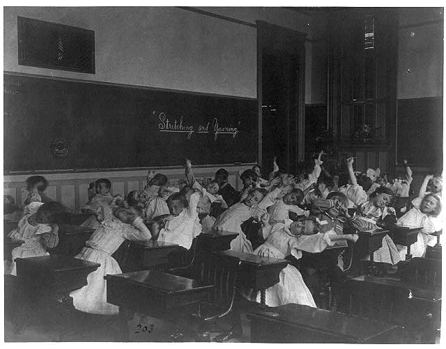 [Classroom scenes in Washington, D.C. public schools - stretching and yawning exercise, 2d Division]