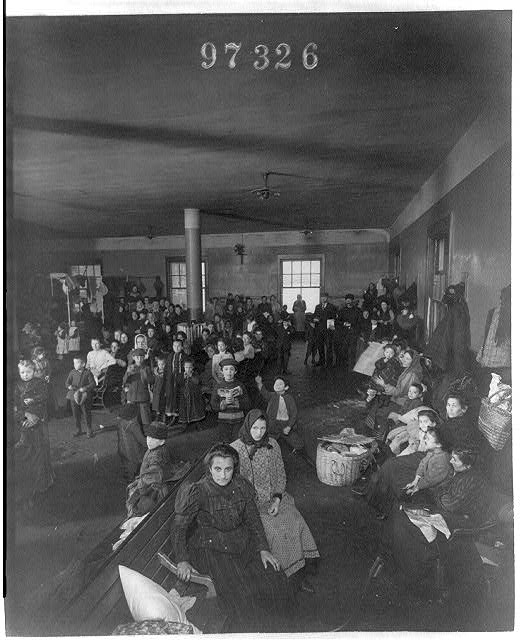 [Recently arrived persons at Ellis Island, N.Y.]