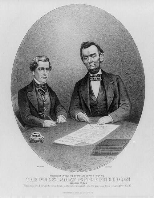 President Lincoln and Secretary Seward signing the Proclamation of Freedom: January 1st. 1863