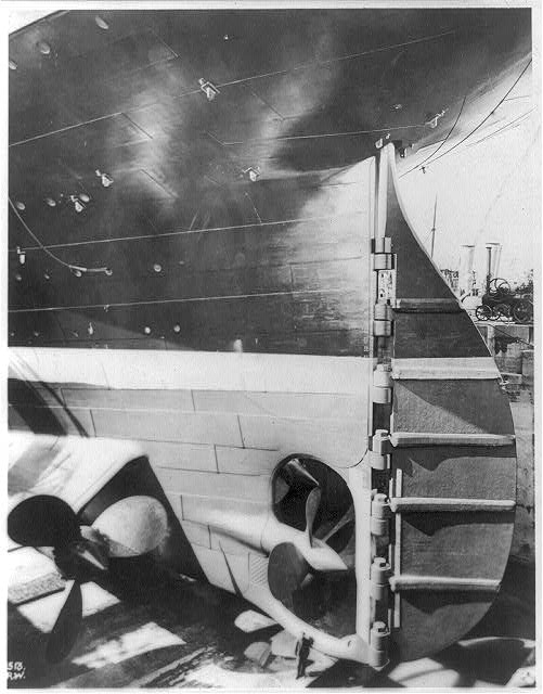 [View of the stern and rudder of the TITANIC in drydock]