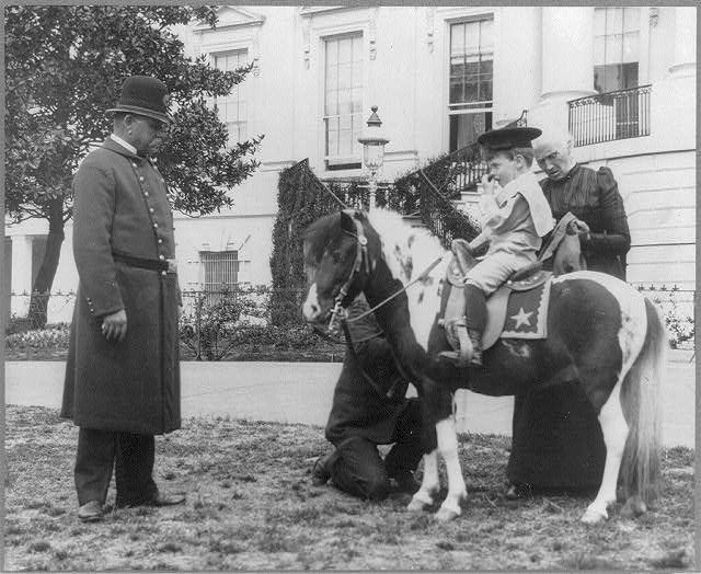 [Quentin Roosevelt on pony in front of White House]
