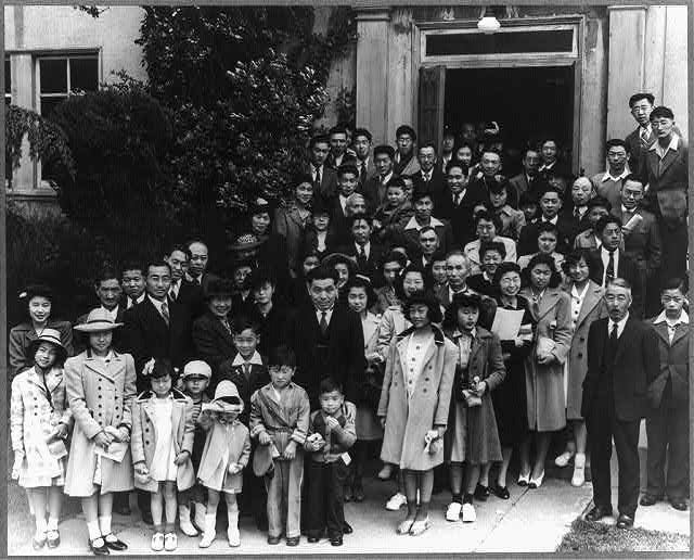 Oakland, Calif. Apr. 1942. Members of the Japanese Independent congregational church attending Easter services prior to evacuation of persons of Japanese ancestry from certain West Coast areas, and housing in War relocation authority centers for the duration of the war