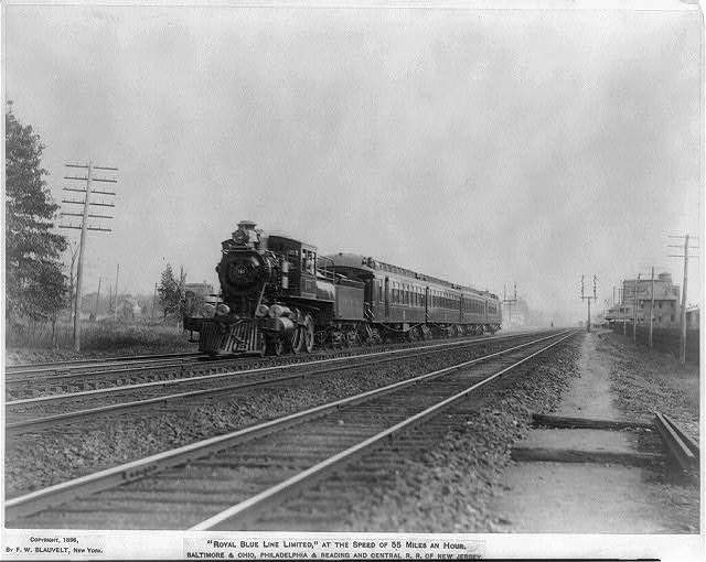 """Royal Blue Line Limited"", at the speed of 55 miles an hour. B&O, P&R and Central R.R. of New Jersey"