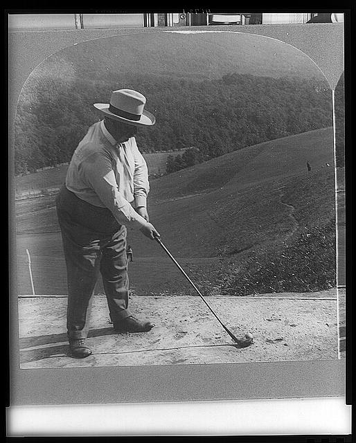 The statesman's playtime--Hon. William H. Taft on the golf links, at Hot Springs, Va.