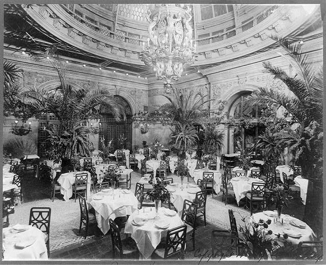 [Waldorf-Astoria Hotel, New York - interiors: Palm garden (dining room)]