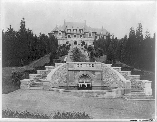 """Blairsden"", a large mansion owned by C.L. Blair: view of house past terrace gardens"