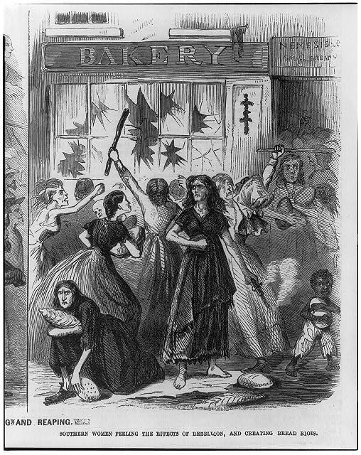 Southern women feeling the effects of the rebellion, and creating bread riots