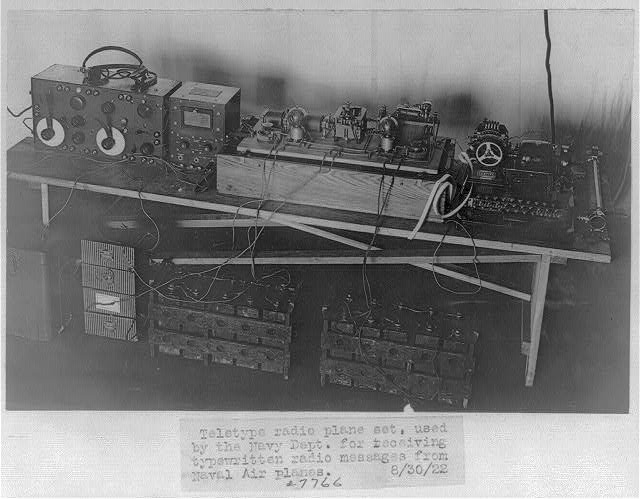 Teletype radio plane set, used by Navy Dept., to receive typewritten radio messages from Naval airplanes