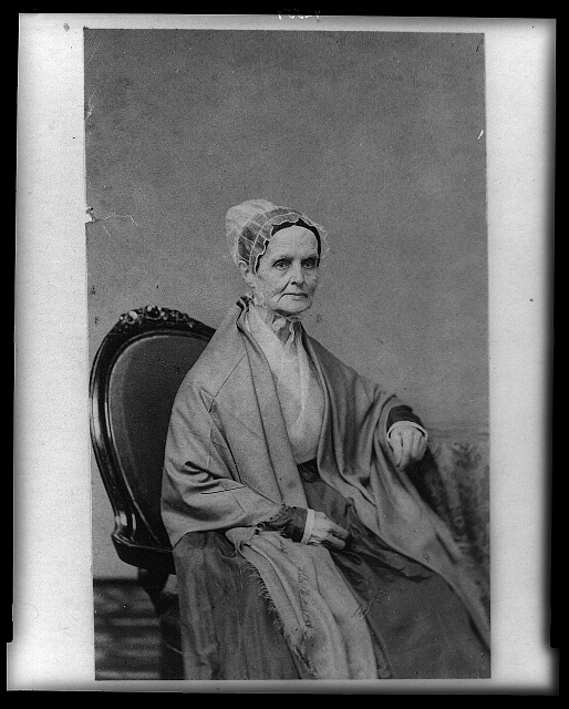 [Lucretia (Coffin) Mott, three-quarter length portrait, seated, facing right]