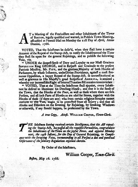[Broadside concerning repeal of Stamp Act, printed in Boston, May 16, 1766]