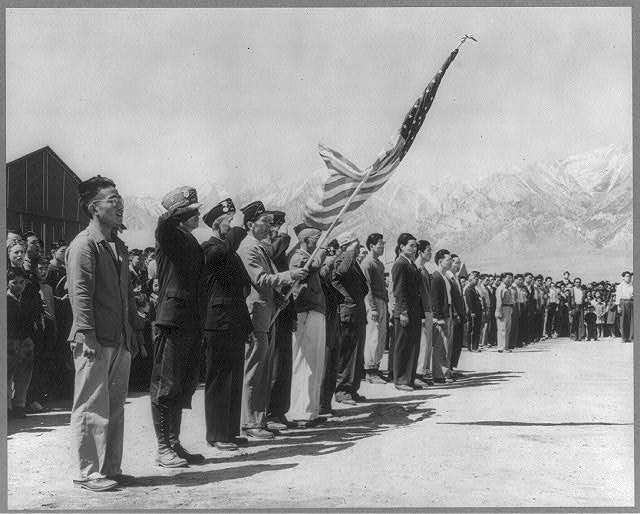 Amer. Legion and Boy Scouts in Memorial Day services at Manzanar relocation center