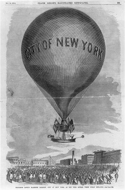 Professor [Thaddeus S.C.] Lowe's mammoth balloon, CITY OF NEW YORK, as she will apepar when fully inflated