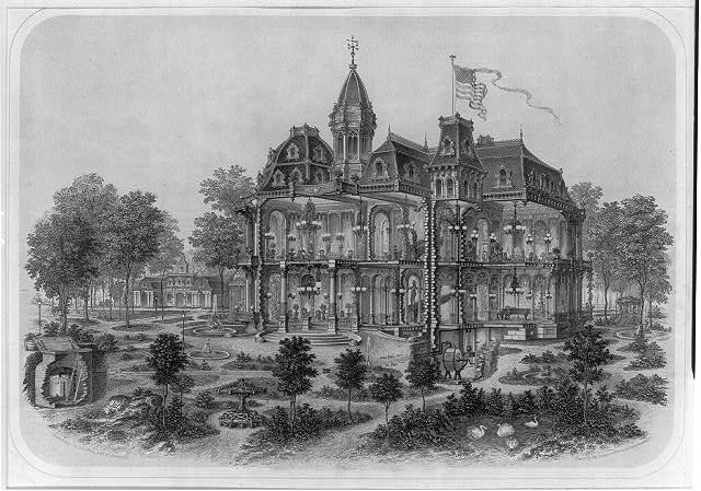 "[Cross-section of victorian mansion illustrating ""springfield gas machine"" and pipe system]"