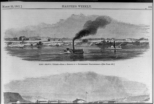 Fort Brown, Texas [Viewed from across river; 2 side-wheelers in foreground]