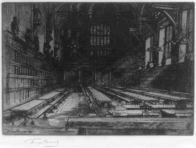 [Dining hall of the Middle Temple, London, England]