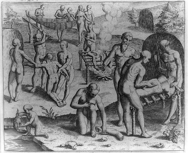 Carius, an Indian from a different tribe, is slaughtered and eaten by the Tuppin Inwa, who are keeping Johannes Staden in Prison, 1554