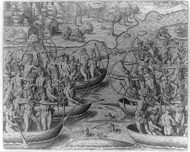 The Tuppin Ikin Indians fight the Tuppin Inwa, who are holding Johannes Staden prisoner, at Boywassu Kange