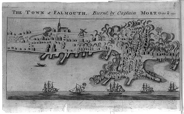 The town of Falmouth, burnt, by Captain Moet, Octbr. 18th 1775