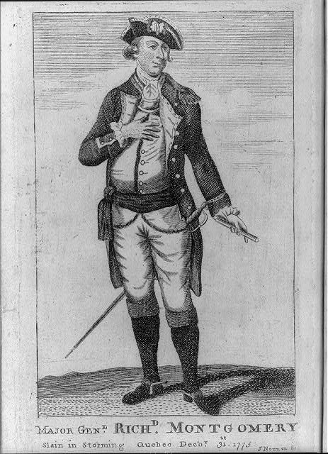 Major Gen'l. Rich'd. Montgomery slain in storming Quebec Dec'b'r. 31st, 1775