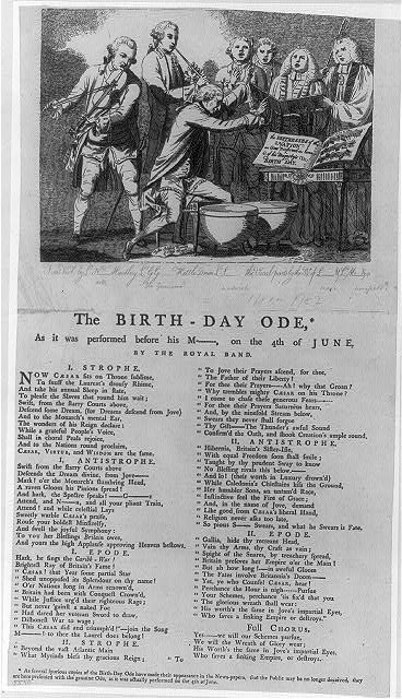 The birth-day ode* - as it was preformed before his M--, on the 4th of June, by the Royal Band