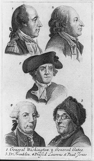1. General Washington 2. General Gates 3. Dr. Franklin 4. Präsid Laurens 5. Paul Jones