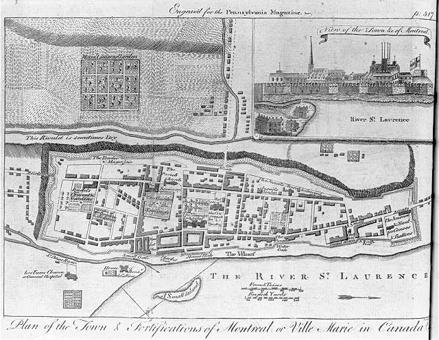 Plan of the town & fortifications of Montreal or ville Marie in Canada - view of the town &c of Montreal