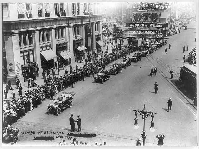 [N.Y.C. - 5th Avenue - Parade of Olympic athletes, Aug. 1912; Democratic pres. banner is prominent]