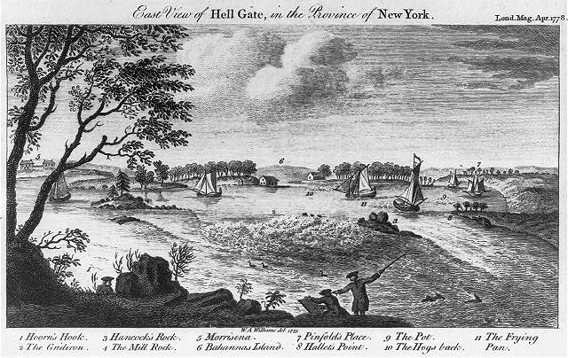 East view of Hell Gate, in the province of New York