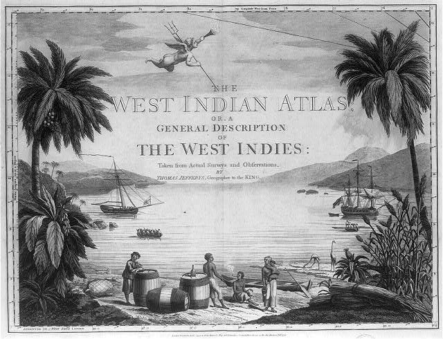 [A scene in the West Indies showing Natives on the beach with a British sailor and three large casks, and two ships in the harbor]