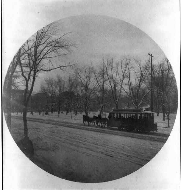 [Horse-drawn trolley in snow, Washington, D.C.]
