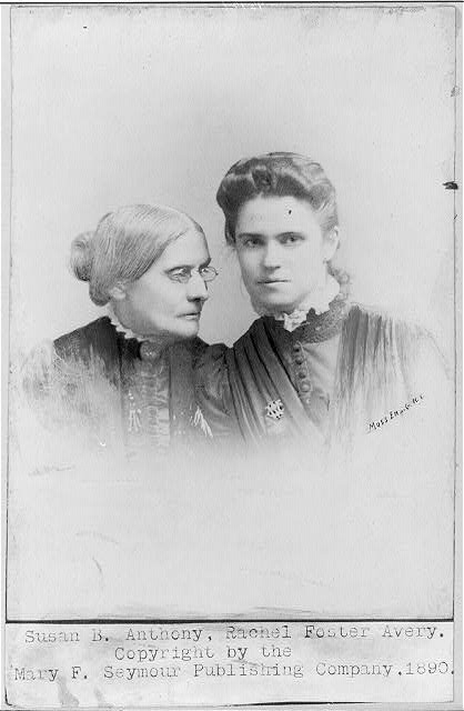 [Susan Brownell Anthony, 1820-1900, bust portrait with Rachel Foster Avery]