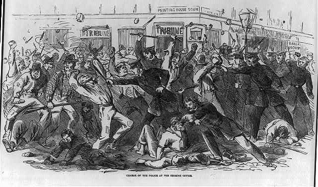 Charge of the police at the Tribune office